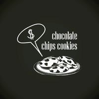 Chocolate chips cookies with speech bubble
