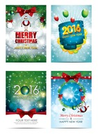 Christmas and new year greetings set