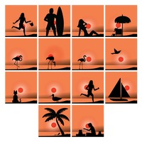 Collection of beach silhouette