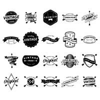 Collection of black and white labels