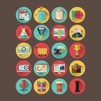 Collection of business and shopping icons