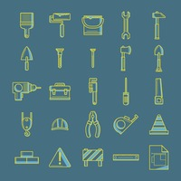 Collection of construction tool icons