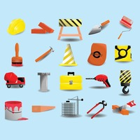Collection of construction tools and equipment