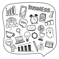 Collection of hand drawn business icons