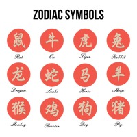 Collection of japanese zodiac symbols