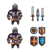 Collection of knights and weapons