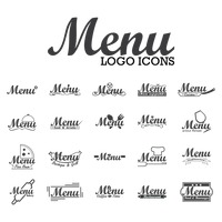 Collection of menu logo icons