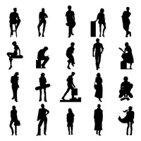 Collection of people silhouette