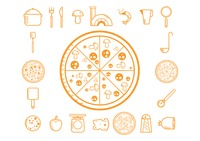 Collection of pizza making icons