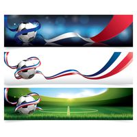Collection of soccer ball banners with france flag