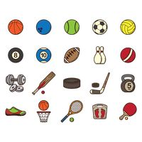 Collection of sports items
