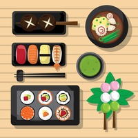 Popular : Collection of sushis and skewers