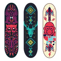 Collection of tribal animal designs on skateboard