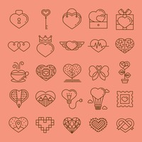Collection of various heart shaped icons