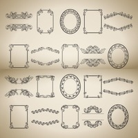 Collection of vintage decorative frames