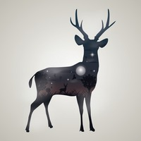Double exposure of deer and forest