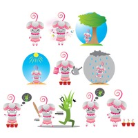 Popular : Flower character with different actions