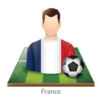 France player with soccer ball on field
