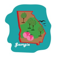 Georgia state map with peaches