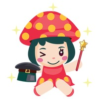 Girl in a mushroom costume performing with magician hat and wand