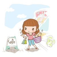 Girl with shopping bags looking at sale board