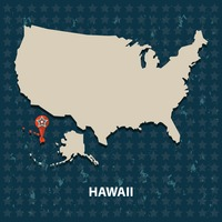 Hawaii state on the map of usa