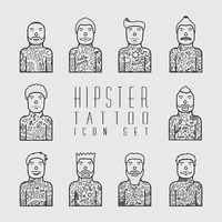 Hipster tattoo icon set
