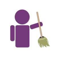 Human icon holding a broom