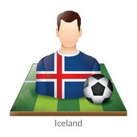 Iceland player with soccer ball on field