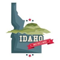 Idaho map with mountains