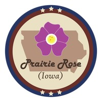Iowa state with prairie rose flower