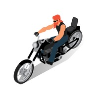 Isometric man riding on motorbike