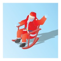 Popular : Isometric of a santa claus sitting on a rocking chair