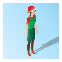 Popular : Isometric of a supermarket female staff