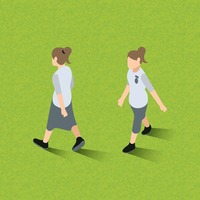 Isometric of women walking