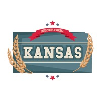 Kansas map with wheat strands