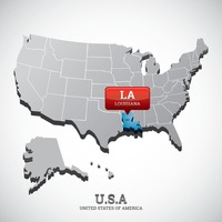 Louisiana state on the map of usa