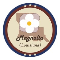 Louisiania state with magnolia flower