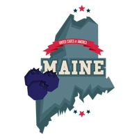 Maine state with blueberries