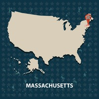Massachusetts state on the map of usa
