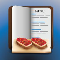 Menu book with bread pizza