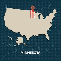 Minnesota state on the map of usa