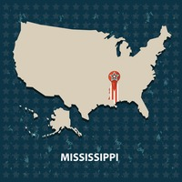 Mississippi state on the map of usa