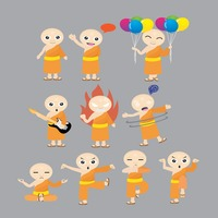 Monk with different actions