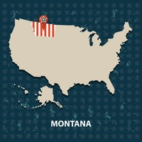 Montana state on the map of usa