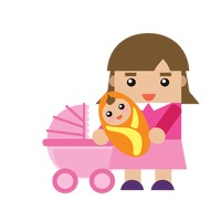 Popular : Mother with a baby and a stroller