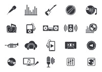 Musical instruments and media player icons