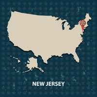 New jersey state on the map of usa