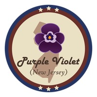 New jersey state with purple violet flower
