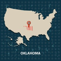 Oklahoma state on the map of usa